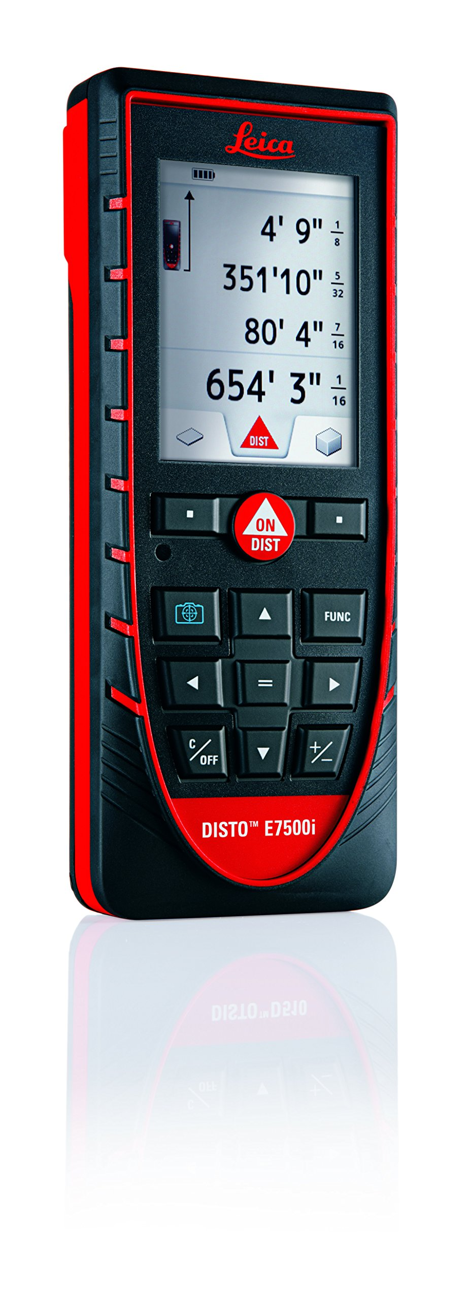 Leica DISTO E7500i 660ft Laser Distance Measure w/Bluetooth & DISTO Sketch iPad iPhone App, Black/Red by Leica Geosystems