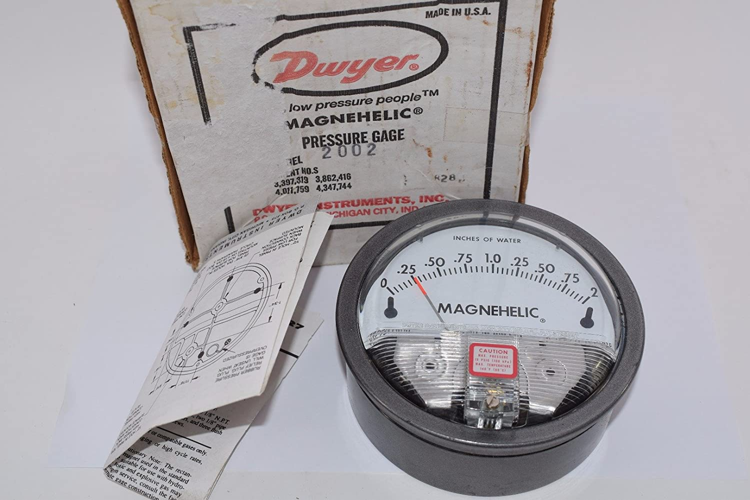 Dwyer® Magnehelic® Differential Pressure Gage, 2002,: 0-2