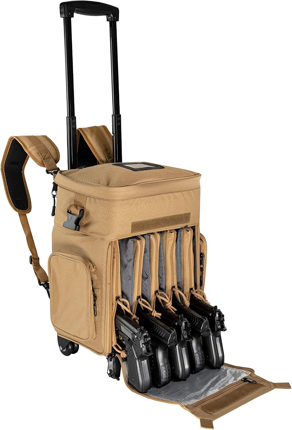 """Calissa Offshore Tackle Backpack -""""Apollo 2"""" Tactical Rolling Pistol Case Gun Range Bag for Shooting Gear, Ammo, Hunting Supplies, Firearms Storage, Fishing Equipment – 5 Pouch Compartment Organizer"""