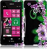 For Nokia Lumia 521 Hard Design Cover Case Green Flower Accessory