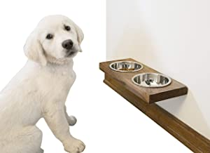 Imperative Décor Rustic Wood Floating Raised Pet Bowls for Dog and Cats Elevated Food and Water Bowls (17
