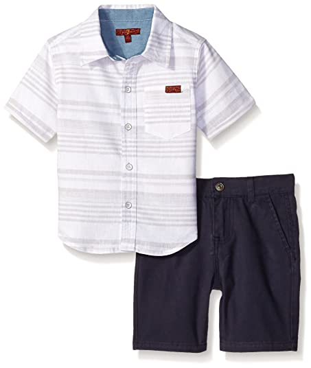 7 For All Mankind Little Boys Toddler 2 Pocket Twill Short And Sleeve Plaid