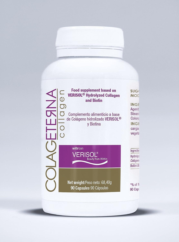 Colageterna - Exclusivo complemento de Colágeno Hidrolizado VERISOL® con Biotina, La Solución Definitiva para el Tratamiento y Prevención de las Arrugas, ...