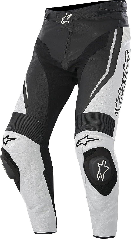 Alpinestars Track - Pantalones de motorista de cuero 15, color negro y blanco, talla 58