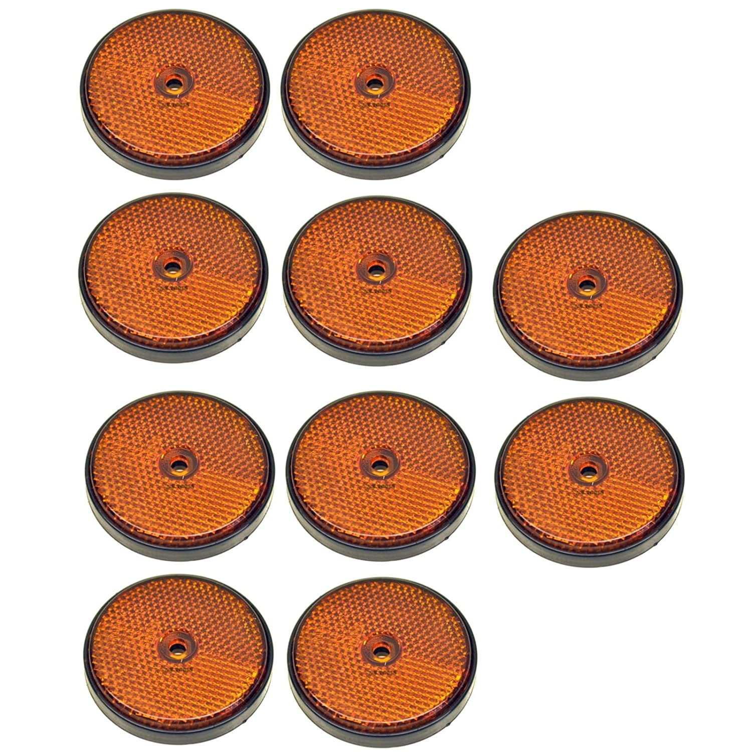 Amber Round Side Reflector Pack of 10 for Trailers Fence / Gate Posts TR066 AB Tools