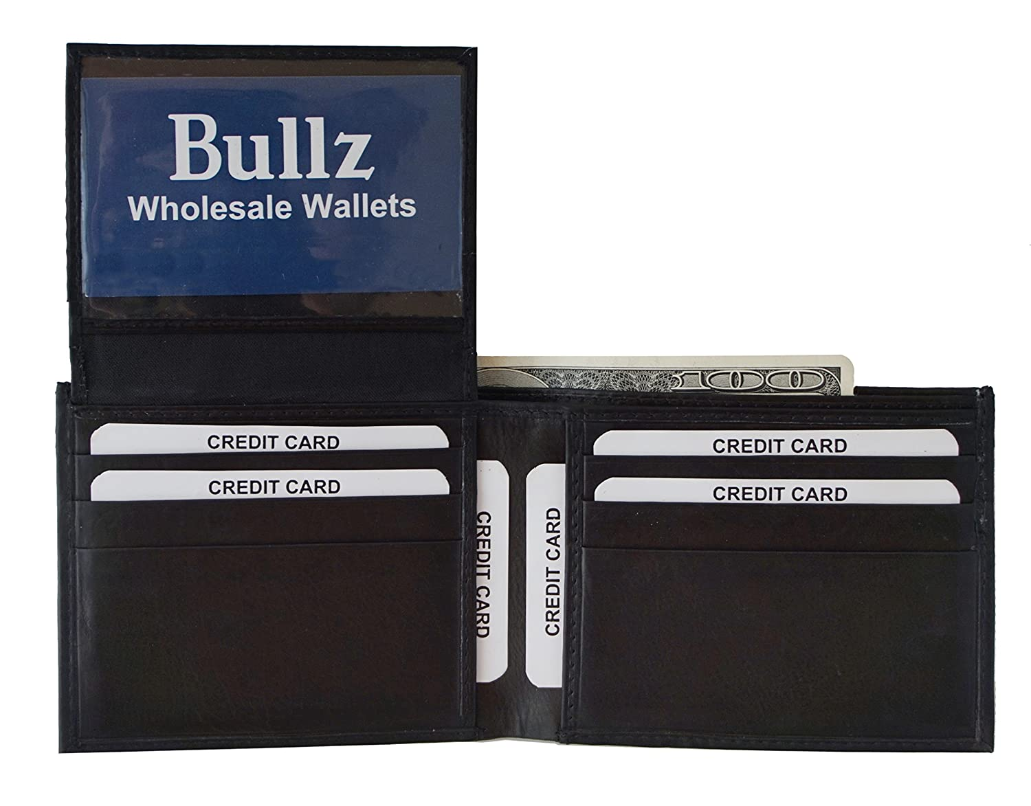 Genuine Leather Credit Card-ID Holder Bifold Mens wallet Rown