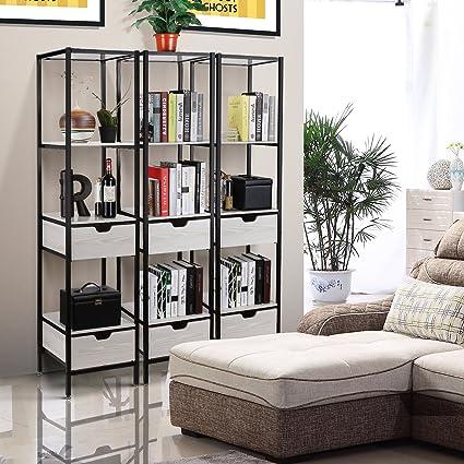 Homfa Living Room Free Standing Shelves, 4 Tier Storage Shelf Organizer  Rack With 2