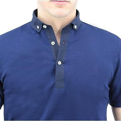 Meadrine Polo Azul Marino con Cuello de Camisa Marina con Lunares ...