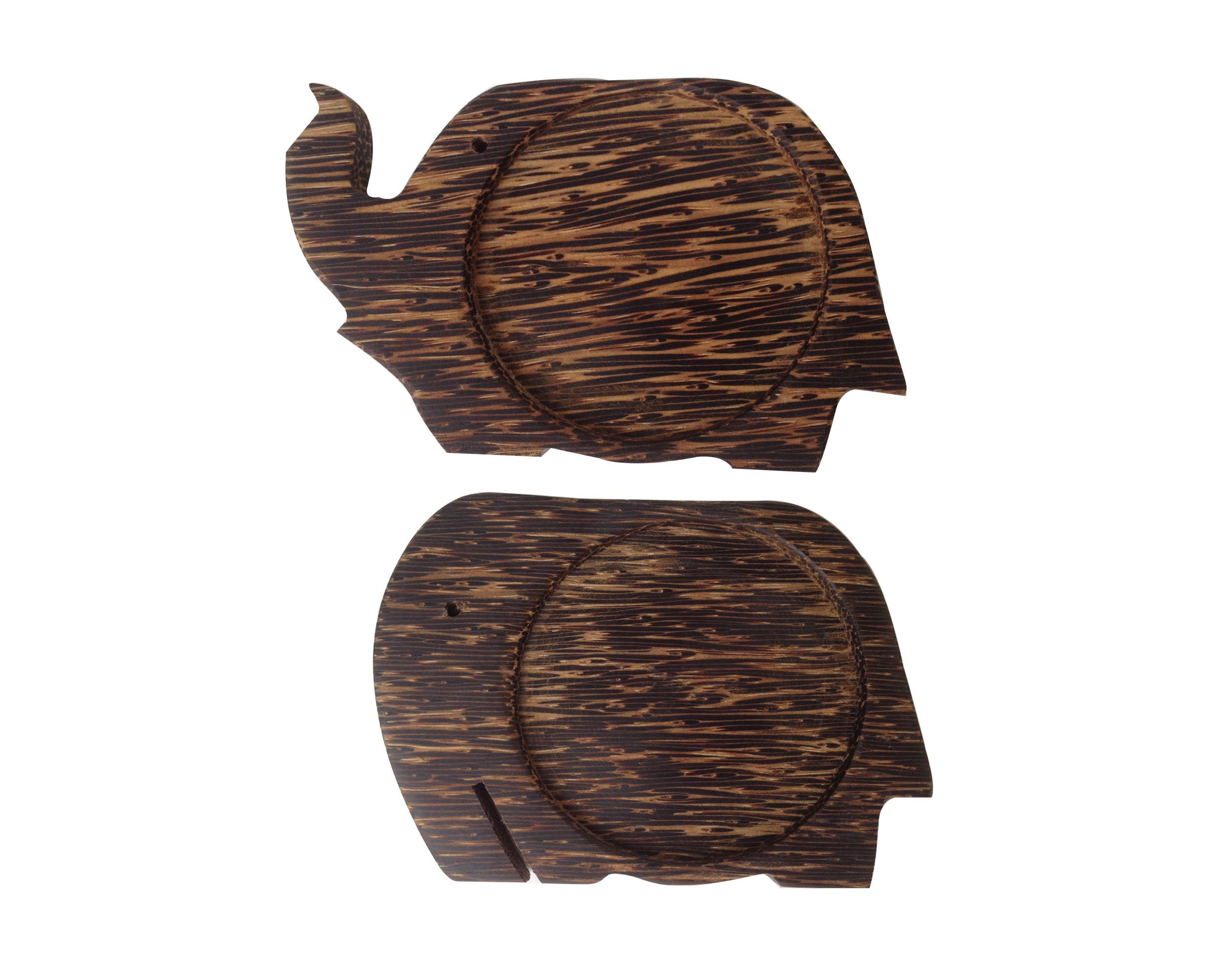 Wood For Décor Wooden Elephant Shape Saucer Toddy Balm Small Natural Color Set of 2 Pieces by Wood For Décor