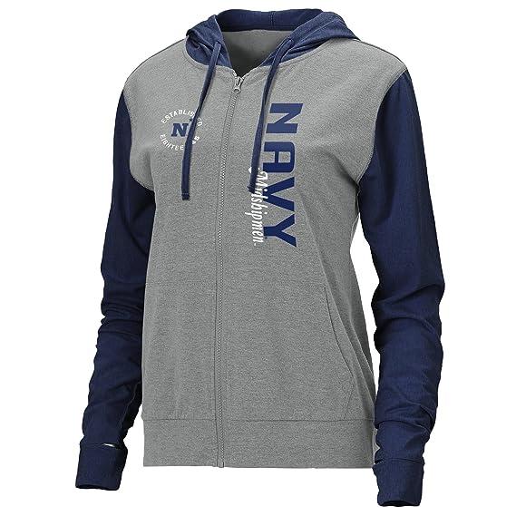Ouray Sportswear Women's Color Block Full Zip Lightweight Hood, X-Large, Premium Heather/Navy
