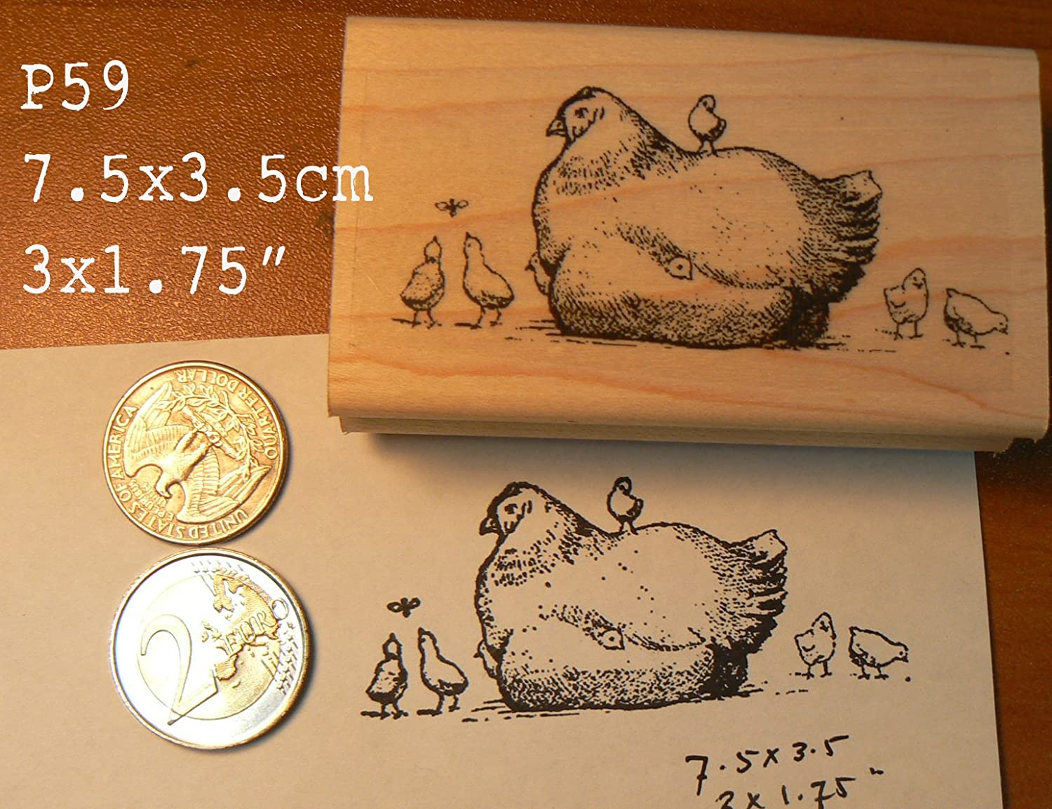 P59 Vintage Hen with Chicks Rubber Stamp
