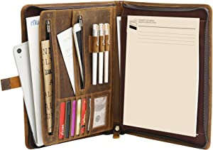 RingSun Leather Portfolio Binder Organizer for A4/Pad, Zippered Padfolio Business Notebook Binder for Women/Men, Leather Folder Organizer with Zipper and Handwrite Pad,RS01,Brown