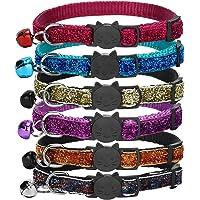 GingerUP Reflektierendes Katzenhalsband mit Glocke, 6er Set, Robust, Nylon, Coole Halsbänder für Hauskatzen, Kleine Hunde