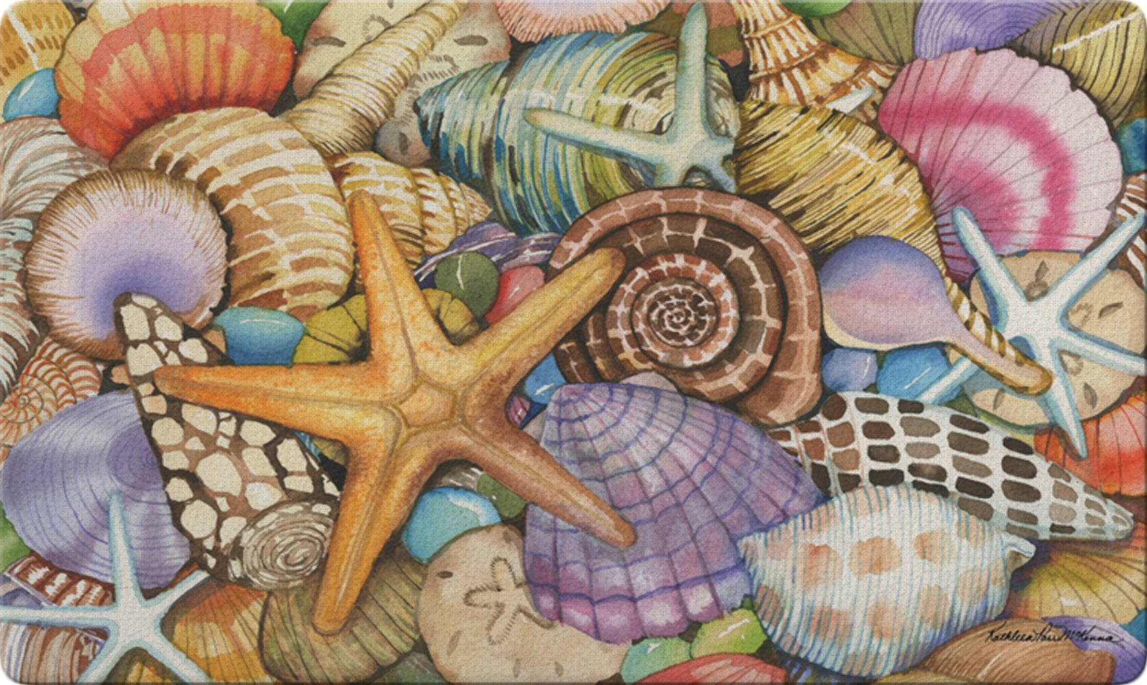 Toland Home Garden Shells of The Sea 18 x 30 Inch Decorative Floor Mat Colorful Beach Shell Collage Doormat