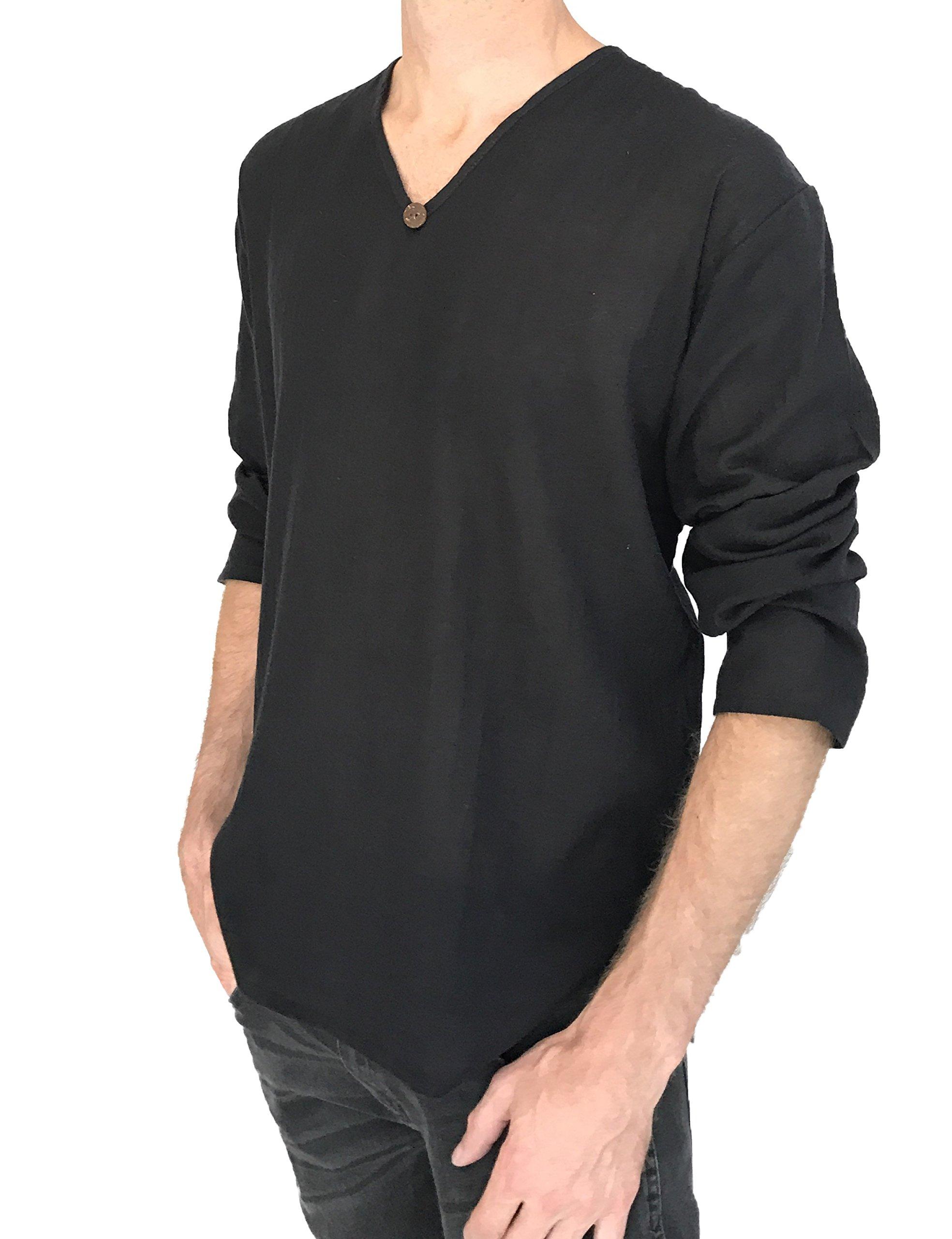 Love Quality Men's T-Shirt 100% Cotton Hippie Shirt Beach Yoga Top Feature Button (Medium, Black) by Love Quality (Image #1)