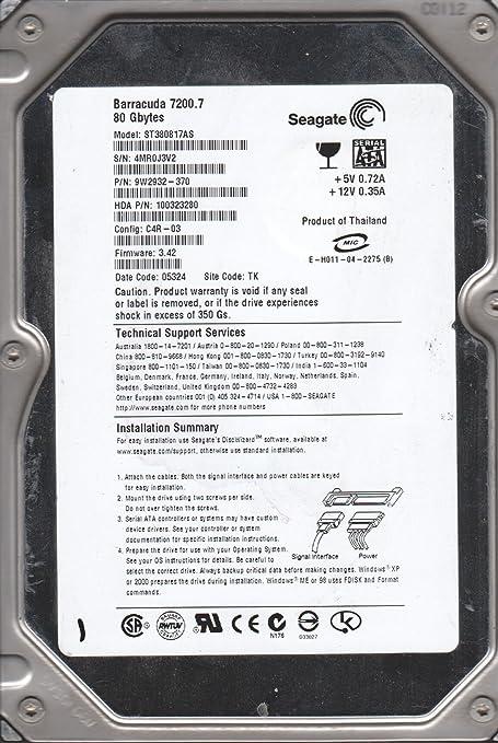 Seagate 80GB SATA 3.5 Hard Drive PN 9W2932-370 FW 3.42 TK ST380817AS 4MR