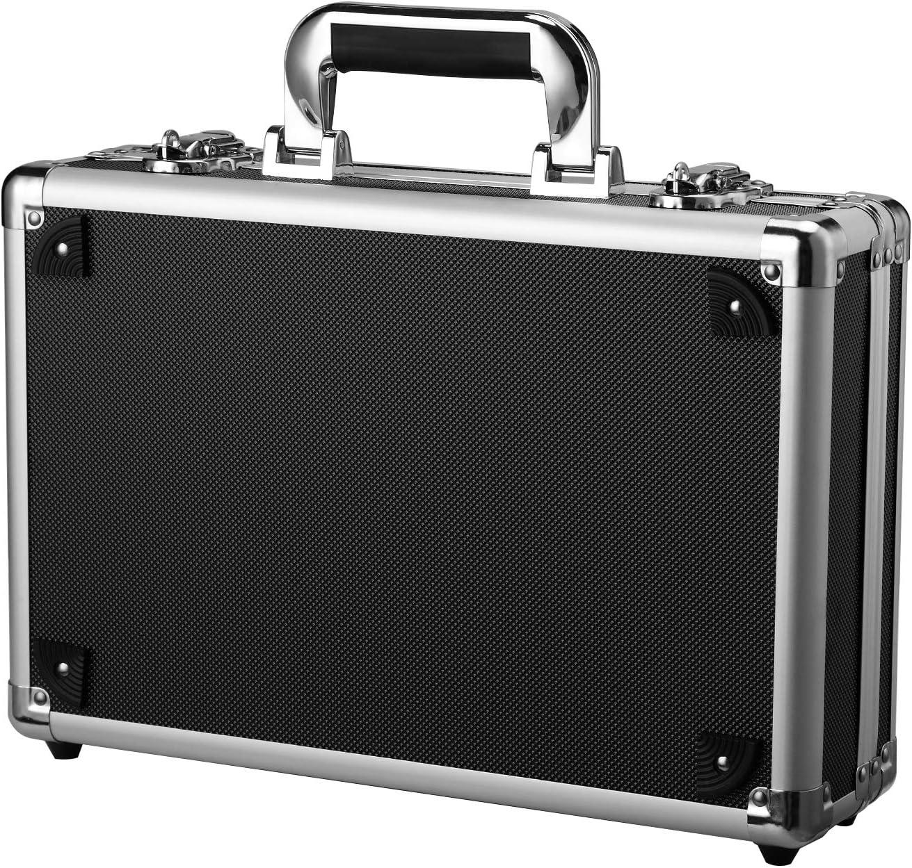 Carcasa rígida de aluminio con inserto de espuma para instrumentos, caja de almacenamiento, maleta de transporte de vuelo: Amazon.es: Oficina y papelería