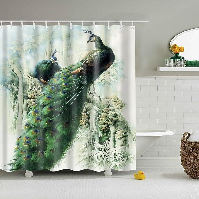 Goldleaf Home Cute Owl Digital Printing Shower Curtain Mildew