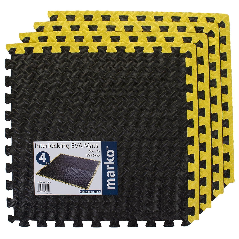96 SQ FT Interlocking EVA Soft Foam Rubber Puzzle Mats Black & Yellow Gym Yoga Garage