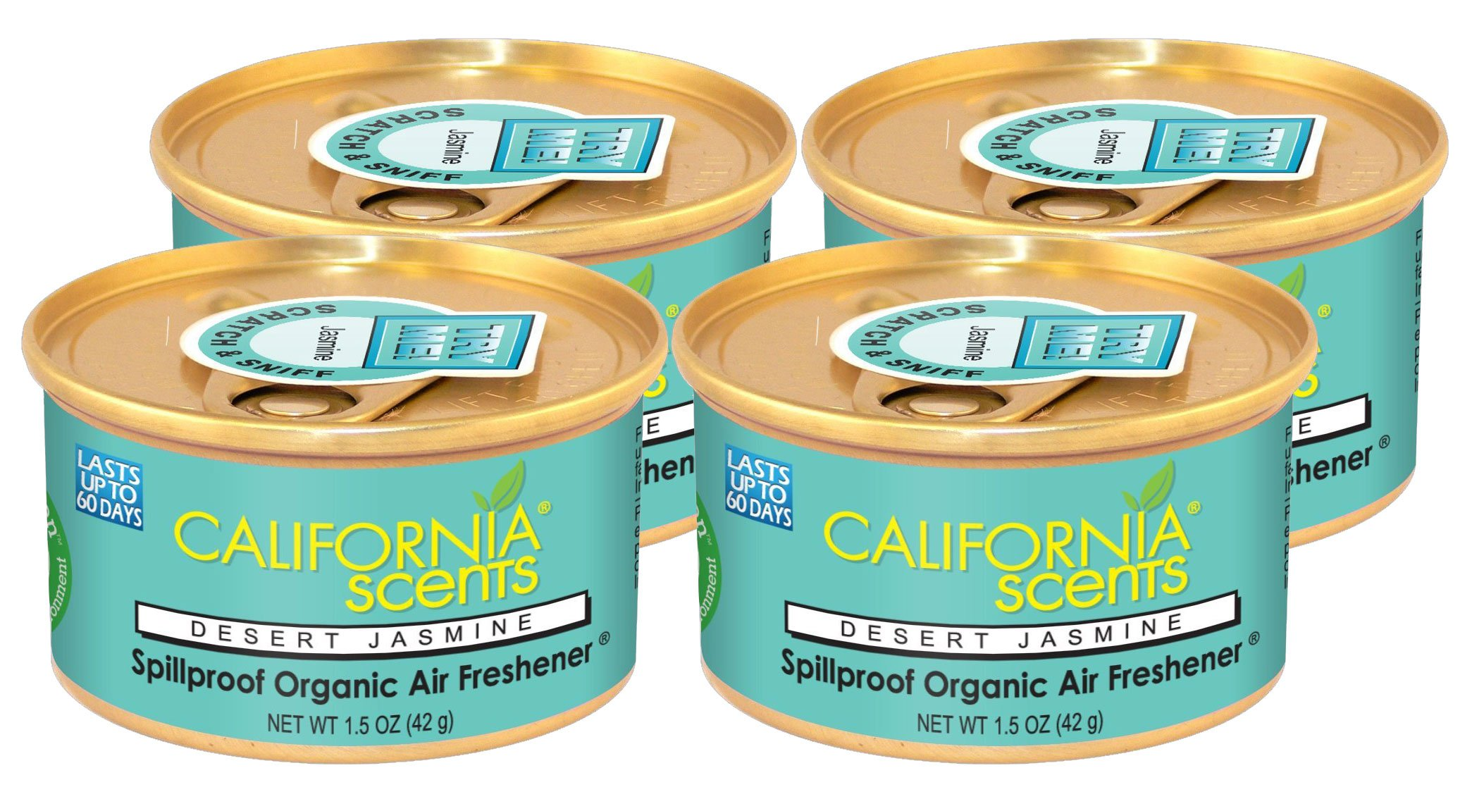 California Scents Spillproof Can Air Freshener Eco-Friendly Odor Neutralizer for Home, Car, Much More, Desert Jasmine, 1.5 oz, 12 Pack by California Scents