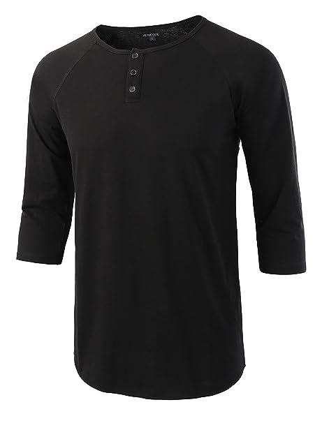 276bf5b08a1 HETHCODE Men s Casual Raglan Fit Soft Baseball 3 4 Sleeve Henley T-Shirts  Tee