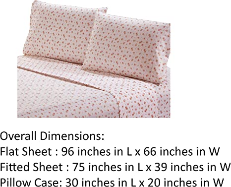Melun 4 Piece Full Size Sheet Set with Rose Sketch The Urban Port Pink and W...