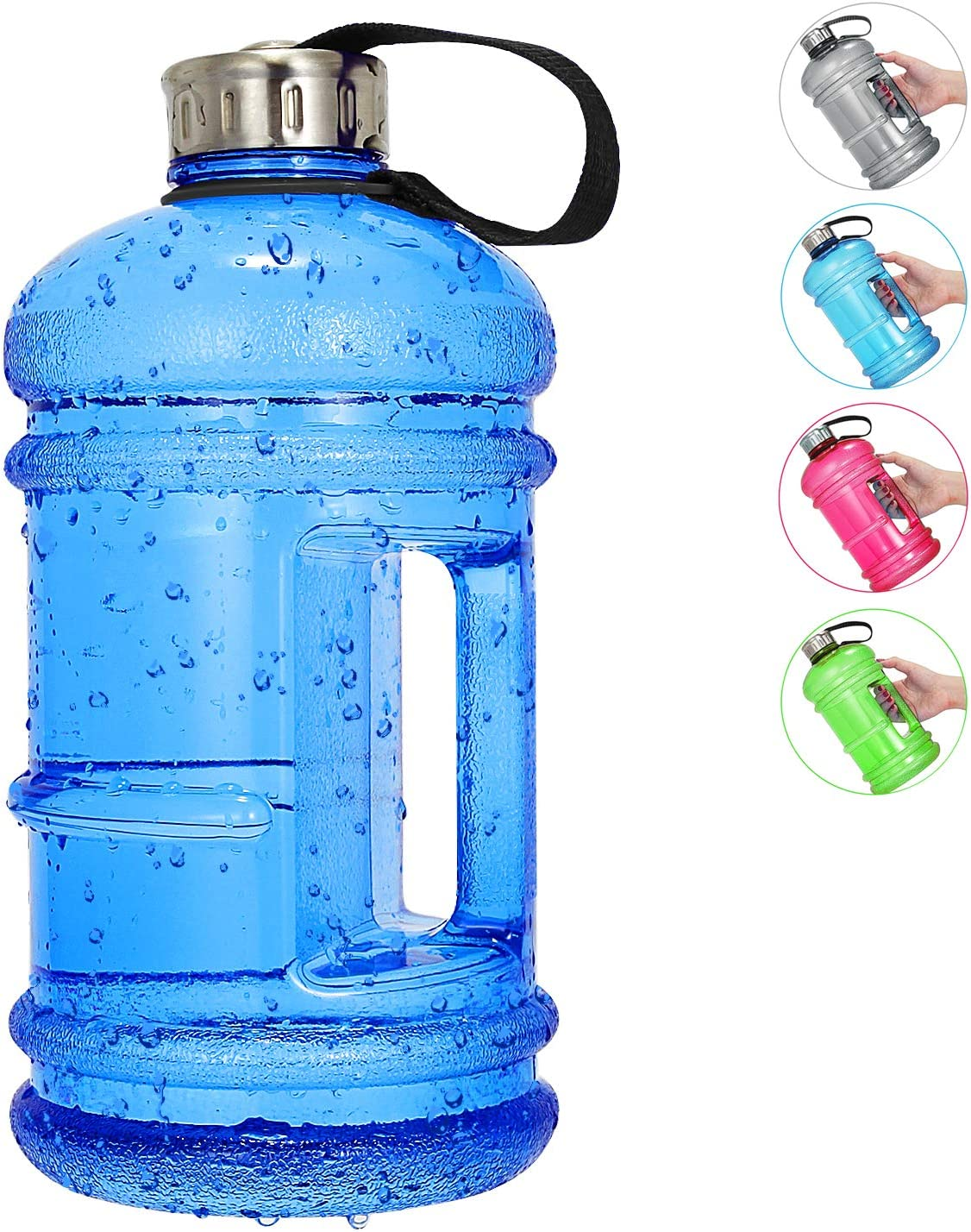 Amazon Com Vaupan Half Gallon Big Water Bottle 2 2l 73 Oz Large Leak Proof Sports Jug With Handle Huge Bpa Free Petg Plastic Wide Mouth Drinking Container Flask For Fitness Gym Biking Travel