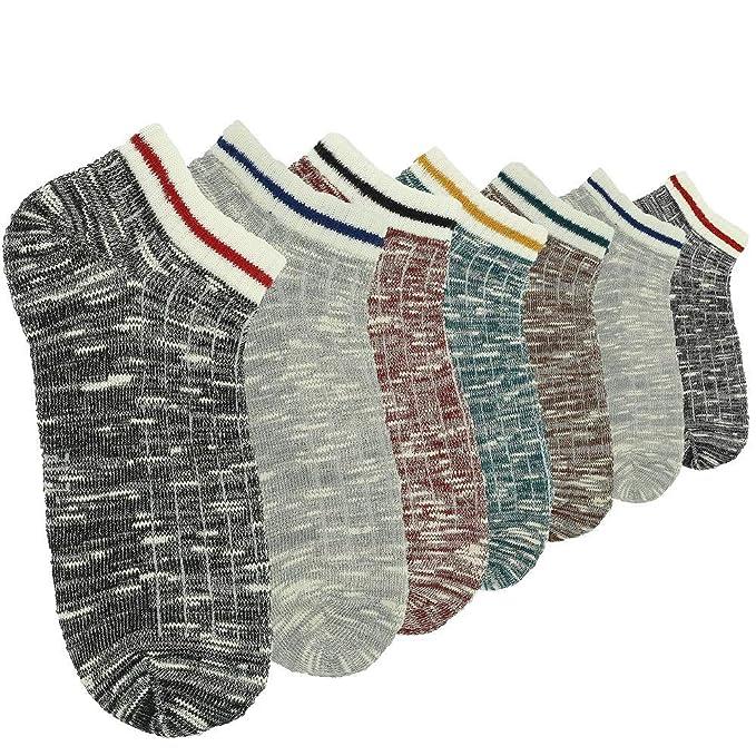 CityComfort Calcetines para hombre Calcetines invisibles Calcetines con dos tonos coloridos para hombres Paquete de 7
