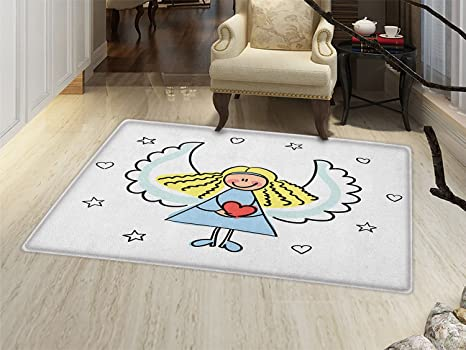 Beau Smallbeefly Xmas Door Mats Area Rug Cute Little Girl With Wings Red Heart  Stars Angel Blessing