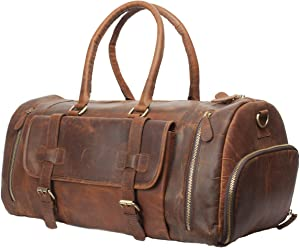 """Vintage Crazy Horse Leather men's Travel Duffle luggage Bag Gym Sports Overnight Weekend (28"""")"""