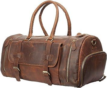 """30/"""" Bag Leather Duffle Men Travel Luggage Gym Shoulder Handbag Overnight Vintage"""