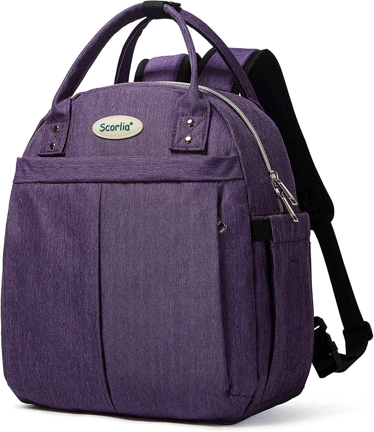 Insulated Lunch Bag Backpack for Women, SCORLIA with Side pocket, Tall Reusable lunch Box Container with Drinks Holder for Girl, Women, School, Office, Beach, Picnic, Purple