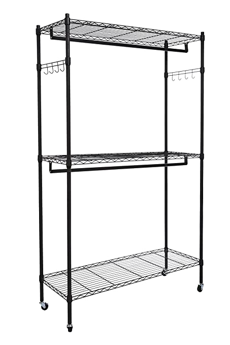 Amazoncom Homdox Double Rod Closet 3 Shelves Wire Shelving
