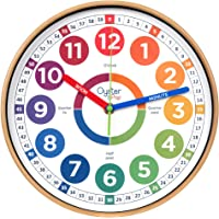 Learning Clock for Kids - Telling Time Teaching Clock - Kids Wall Clocks for Bedrooms - Kids Room Wall Decor - Silent…