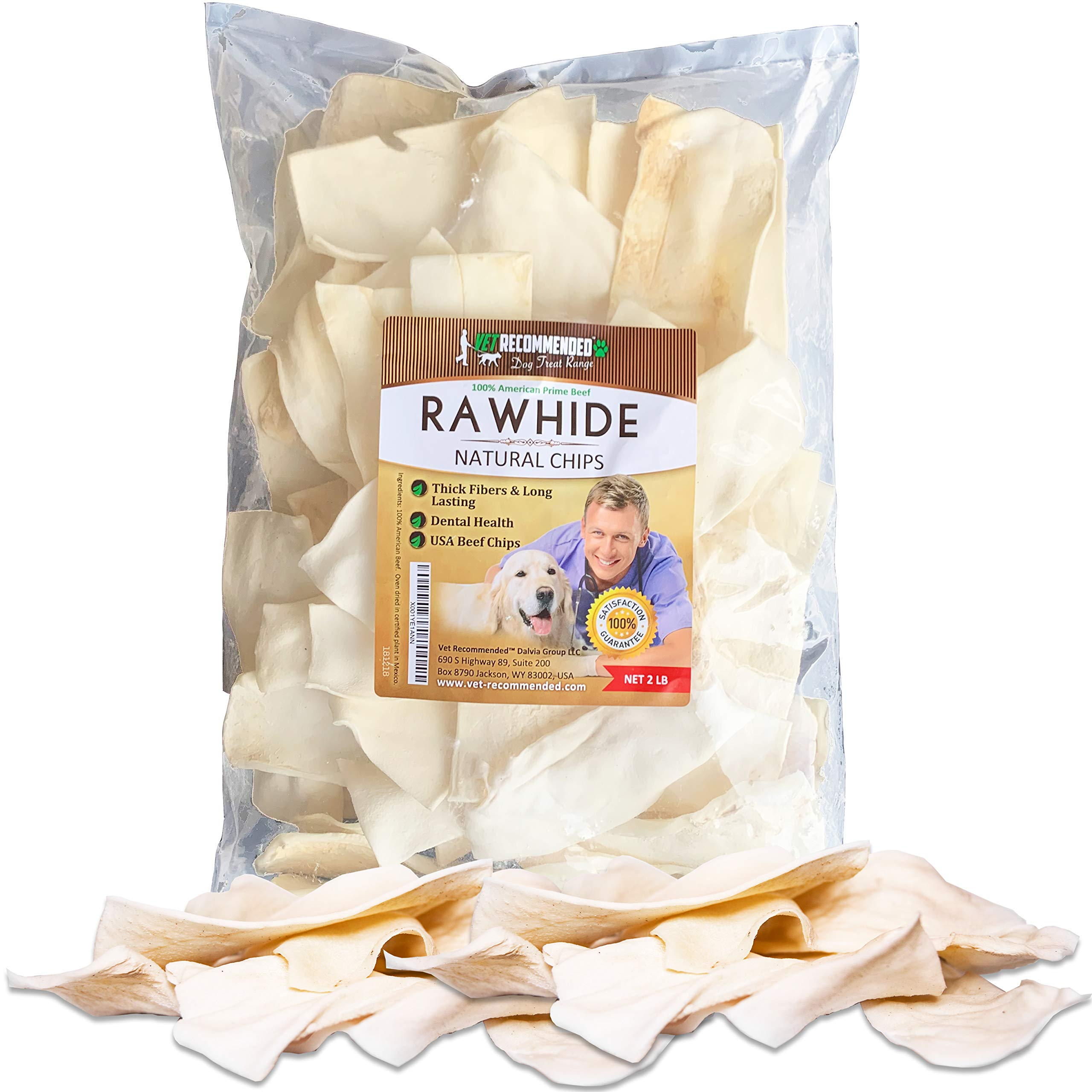 Vet Recommended - Natural Beef Rawhide Chips - Quality Rawhides for Dogs - Long Lasting Dog Chew - Pure Natural Goodness - USA Beef (2-lb Bag) by Vet Recommended