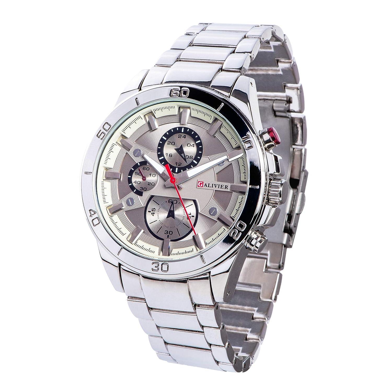 Galivier Reloj Hombre – Swiss Design Reloj de Cuarzo Analógico Acuático con Pulsera de Acero Inoxidable – Reloj Elegante con Esfera Resistente a Arañazos