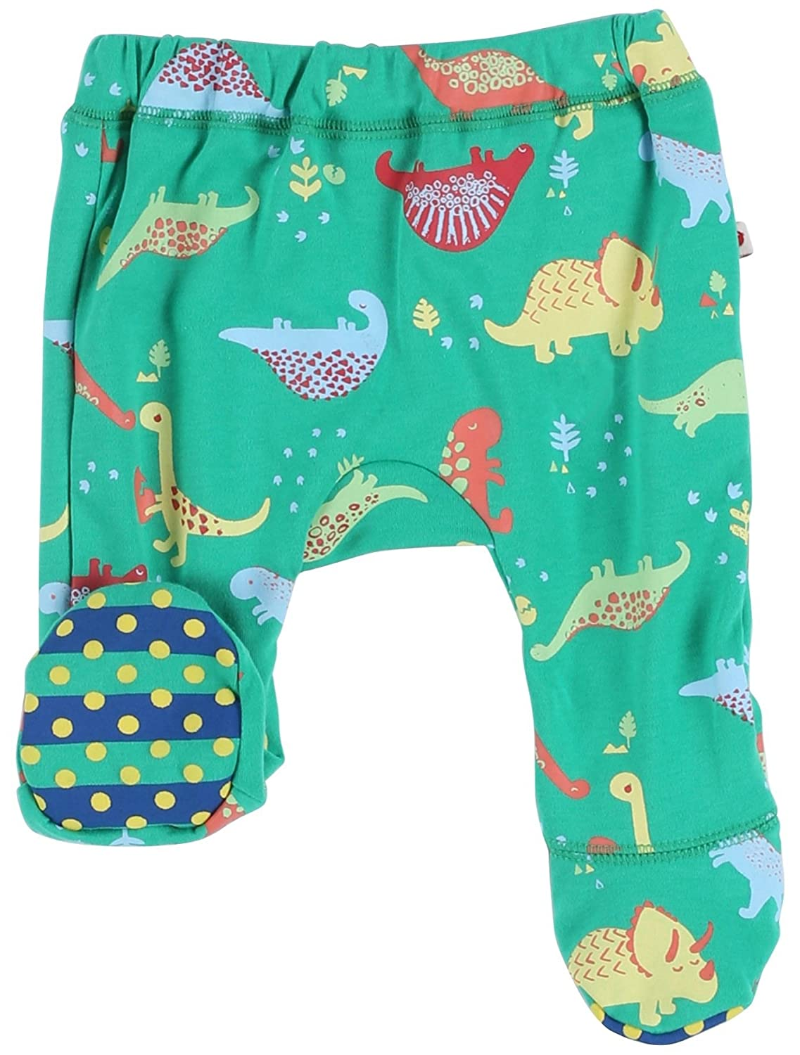 Piccalilly Organic Cotton Green Baby Boys Dinosaur Baby Footed Trousers 0-3 months OC-951A