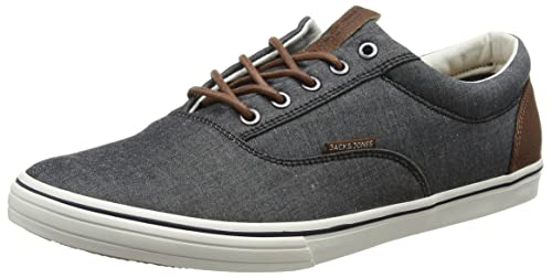 Jack & Jones Men's Jfwvision Chambray Mix Ss Anthracite Low-Top Sneakers,  Grey (