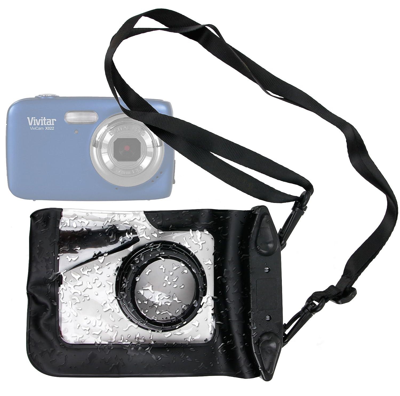 DURAGADGETコンパクトカメラケースinブラックfor Vivitar ViviCam 5024、7025、7399、x225、f128、f324 & x022 – プレミアム品質、耐水性ポーチとズームレンズコンパートメント、クロスボディーストラップ& air-locked Seals B00OTK274E
