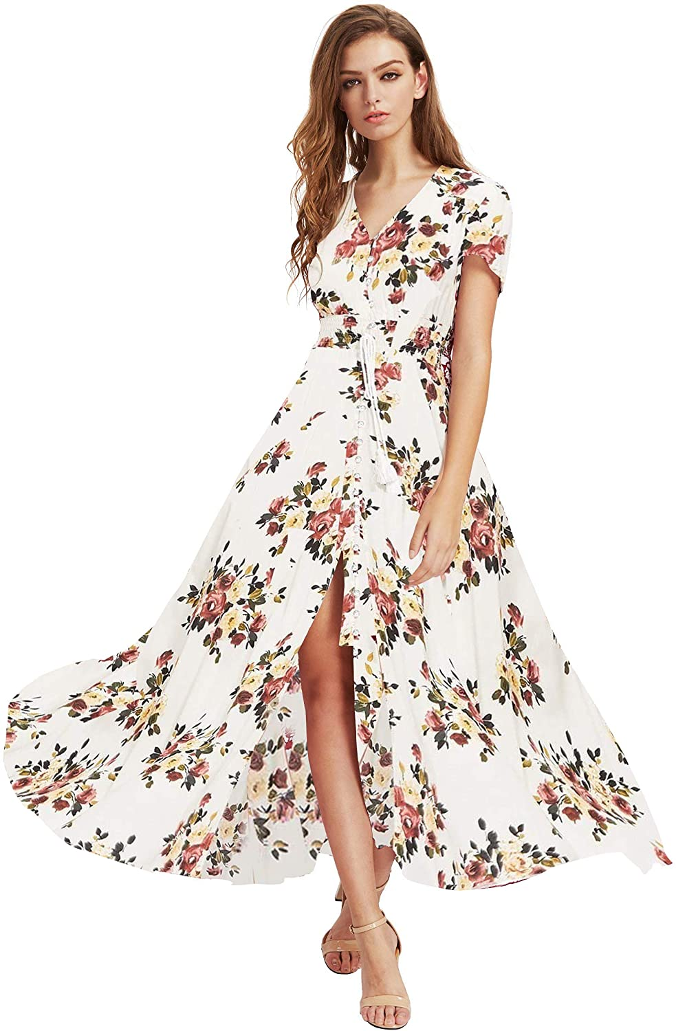 Milumia Women Button Up Floral Print Party Split Flowy Maxi Dress
