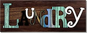 Hicarer Rustic Laundry Sign, Vintage Wooden Laundry Signs, Farmhouse Laundry Wall Plaque Art Hanging Sign for Home Laundry Room Washroom Wall Decor, 15.7 x 6 Inches (Brown)