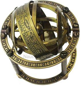 Engraved Brass Finish Armillary Sphere Globe - Nautical Astrolabe Garden Armillary Zodiac Sphere Globe – Nautical Home Decor Antique Style   Nautical's Select