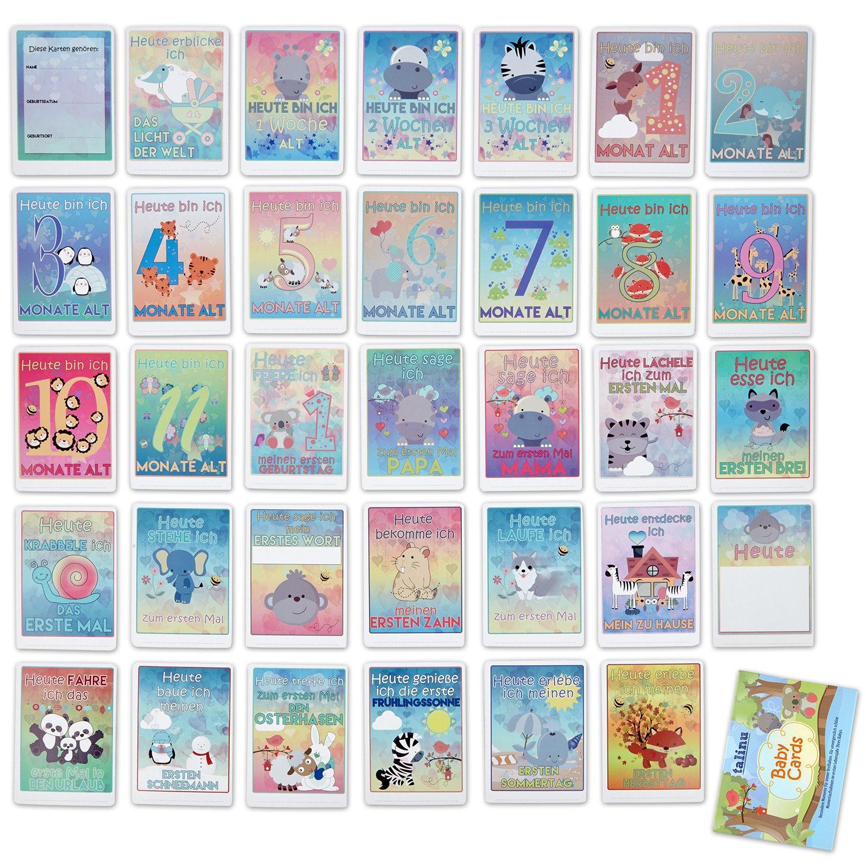TALINU Meilensteinkarten Baby Erinnerungskarten f/ür das erste Lebensjahr Ihres Babys