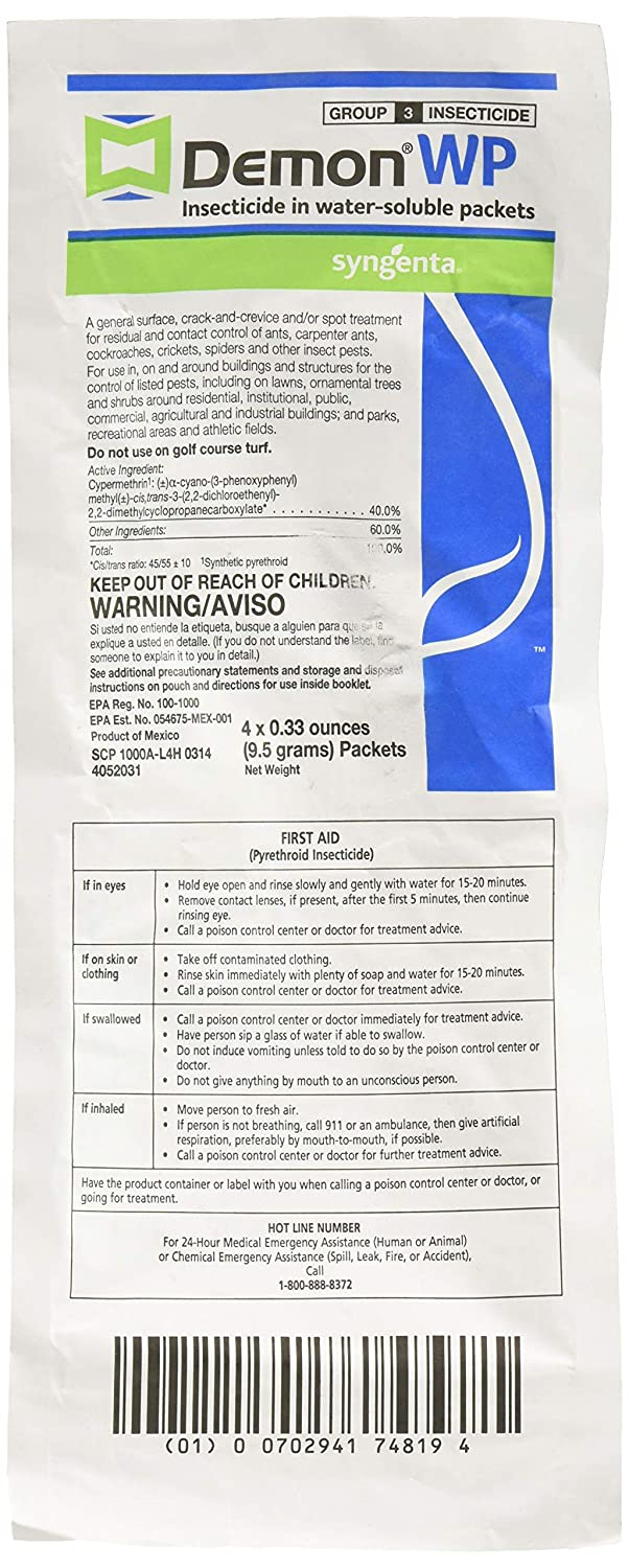 Demon WP Insecticide 2 Envelopes Containing 4 Water-Soluble 9 5 Gram  Packets Makes 4 Gallons Cypermethrin 40%