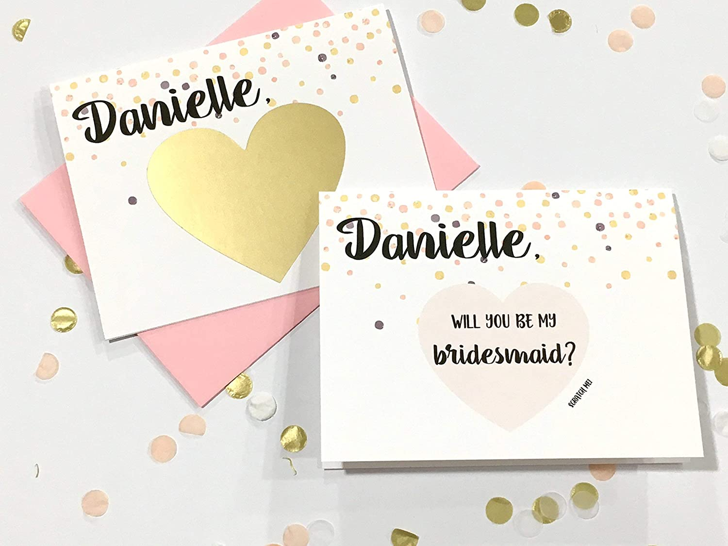Personalised Rose Gold Will U Be My Flower Girl Card Scratch Bridesmaid Wedding