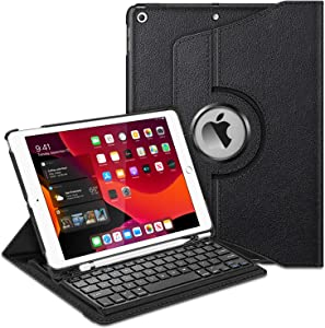 "Fintie Keyboard Case for iPad 7th Generation 10.2"" 2019-360 Degree Rotating Smart Stand Cover w/Pencil Holder, Built-in Wireless Bluetooth Keyboard for iPad 10.2"" Tablet, Black"