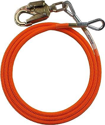 "10 Feet Orange Nylon Steel Core Lanyard Outdoor Climbing Equipment 1//2/"" Diameter"