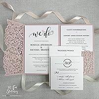 SAMPLE DIY Set Laser Cut Misty Rose Blush Wedding Invitations with Envelopes Pocket We Heart Do Day Invite, Evening Invite, Guest Information, RSVP