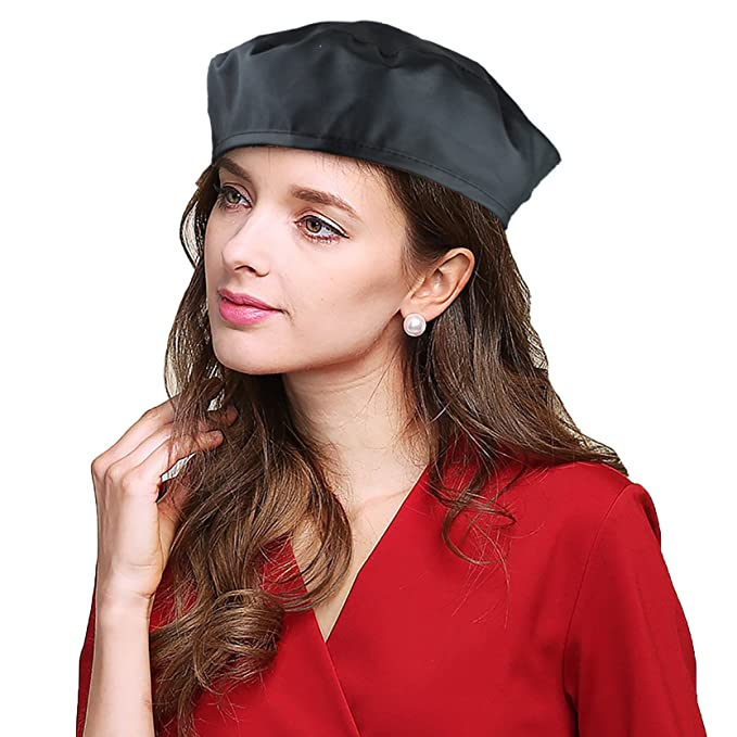 EINSKEY Leather Beret Hats for Women Army Military Adjustable Fashion  Artist Hat (Black) c7313962e24
