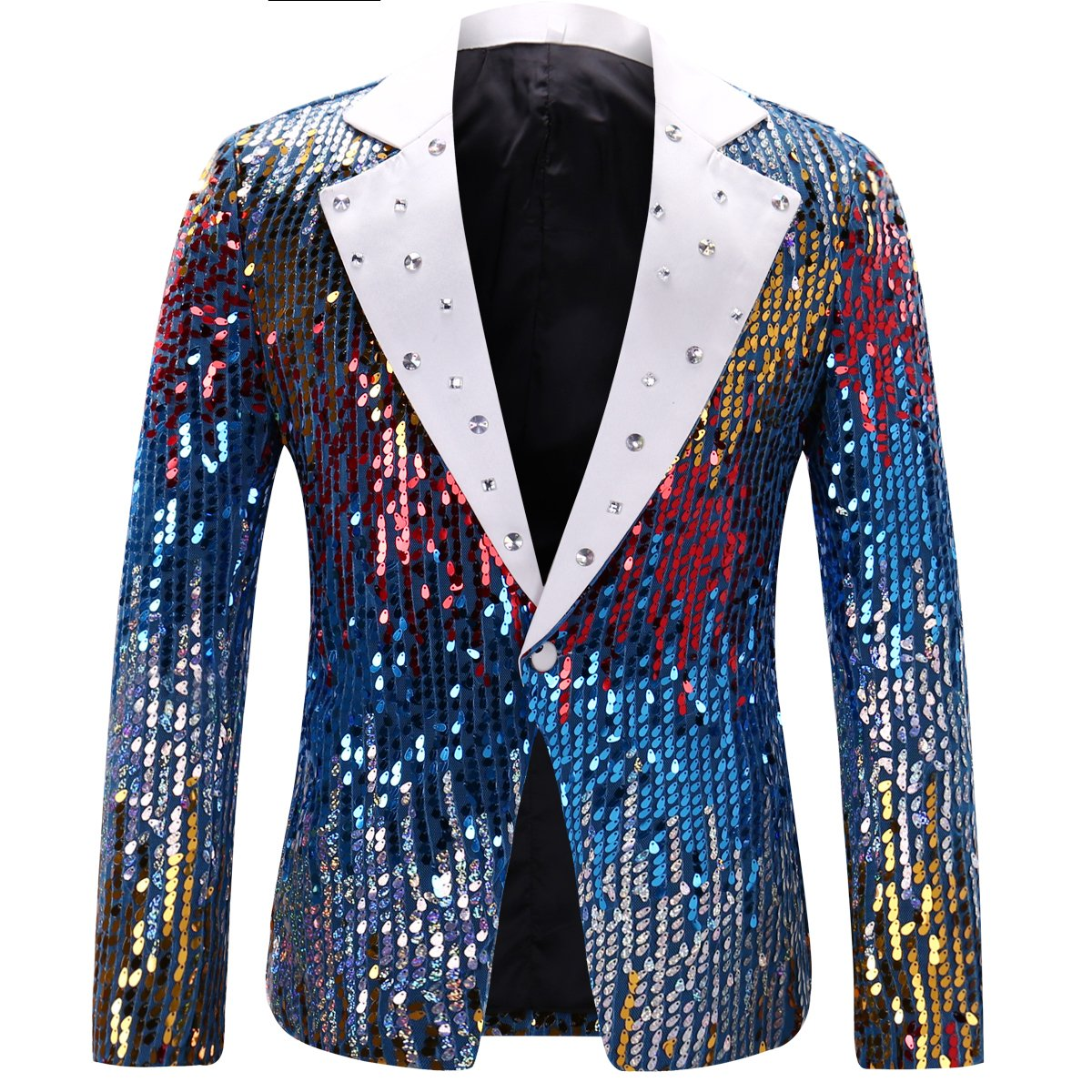 Men's Slim Fit Suit Jacket Casual One Button Shiny Sequin Party Wedding Blazer